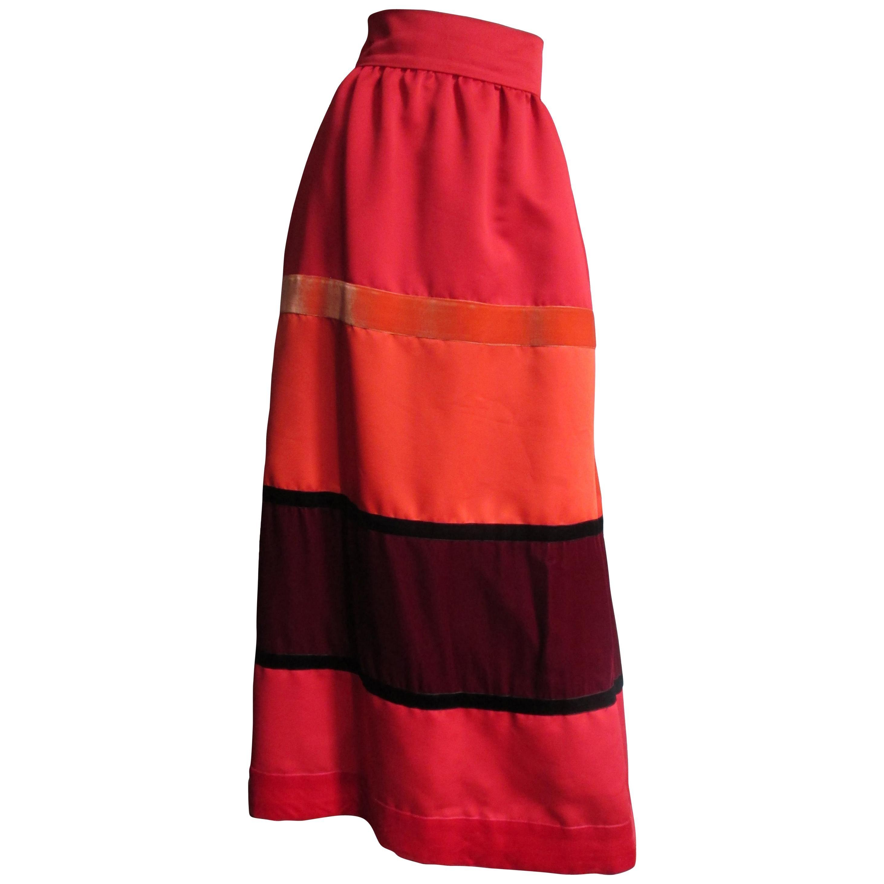 Malcolm Starr Color Block Maxi Skirt 1970s
