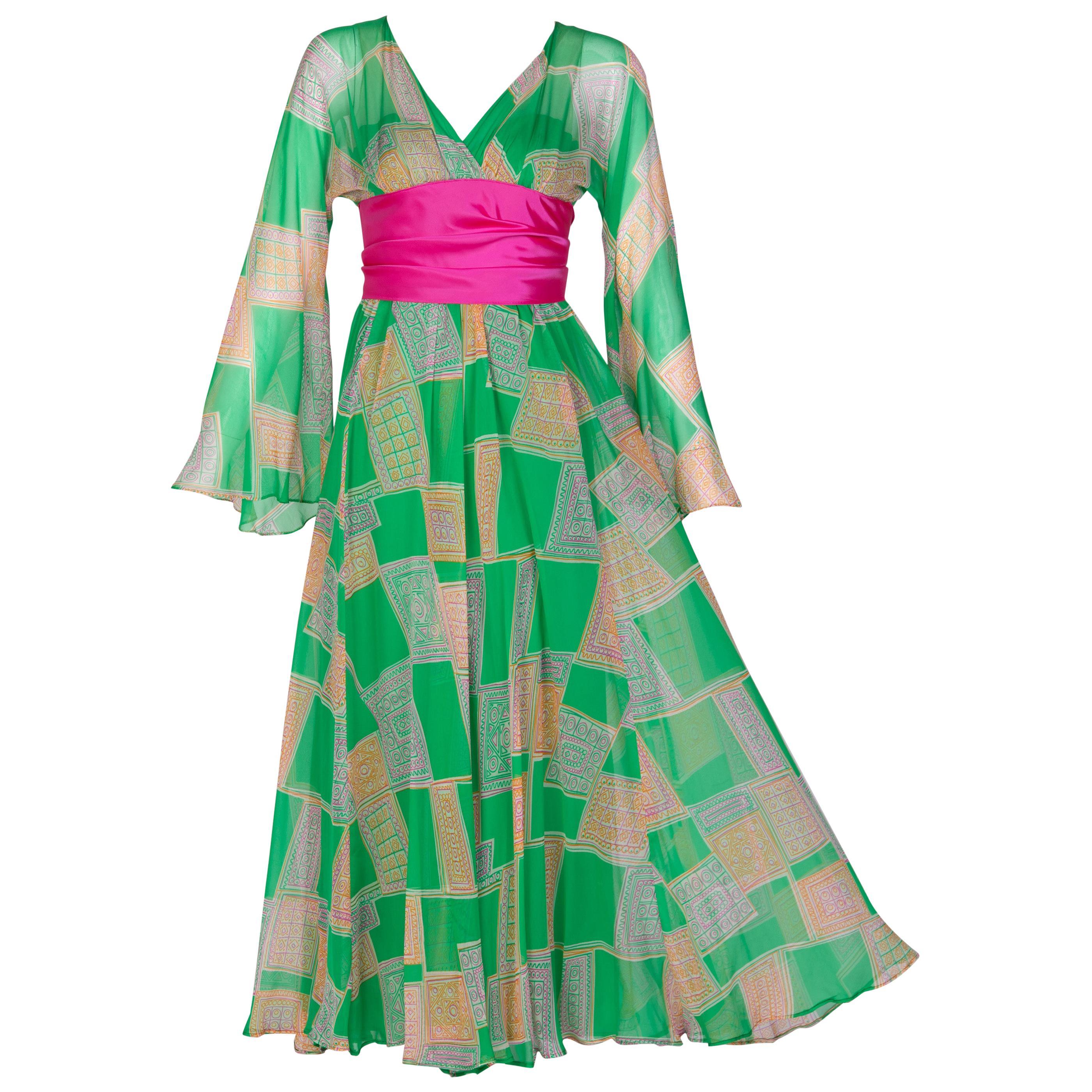 Malcolm Starr Green Geometric Print Chiffon Pink Sash Dress, 1960s