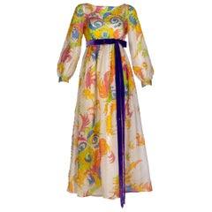 Malcolm Starr Rhinestone Organza Print Dress, 1970s