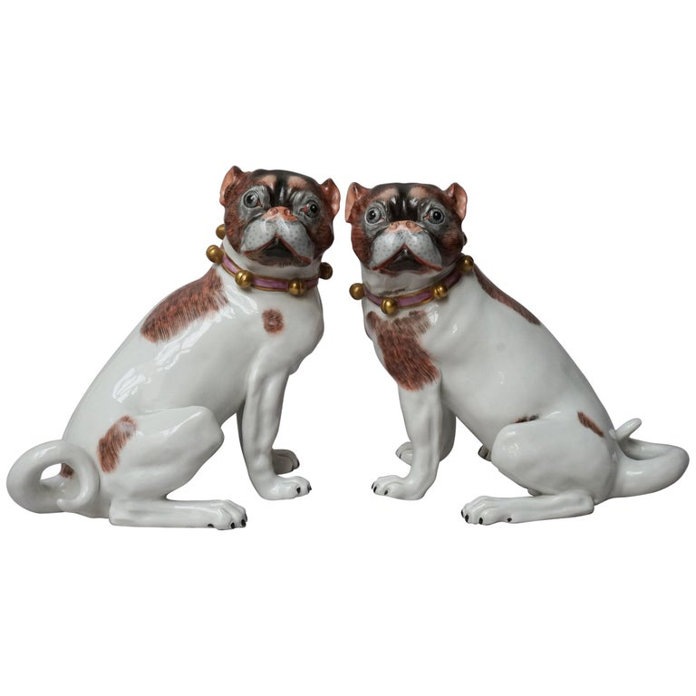 Male and Female Pair of Dresden Saxon Porcelain Pug Dog Figurines For Sale