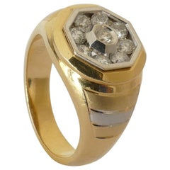 Male/Female 18 Carat Yellow and White Gold Diamond Ring