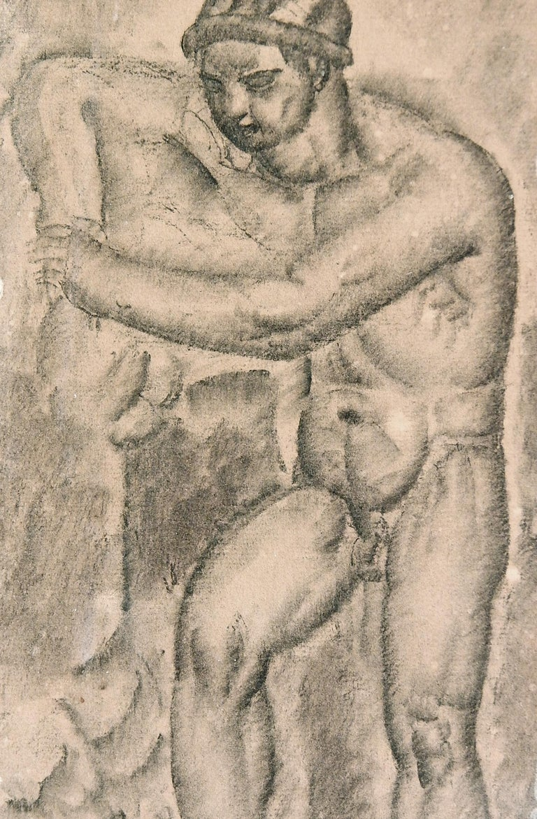 Beautifully realized, this depiction of a male nude leaning against a rock formation shows the stylization characteristic of the Modern or Art Deco movement of the 1920s, as well as indications of fractured surfaces and tilted planes associated with