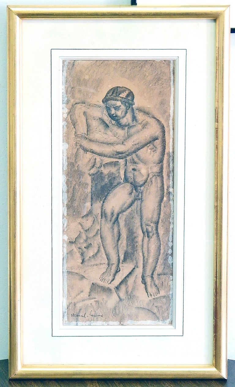 Male Nude in Art Deco-Cubist Manner by Lenoir, 1920s In Excellent Condition For Sale In Philadelphia, PA