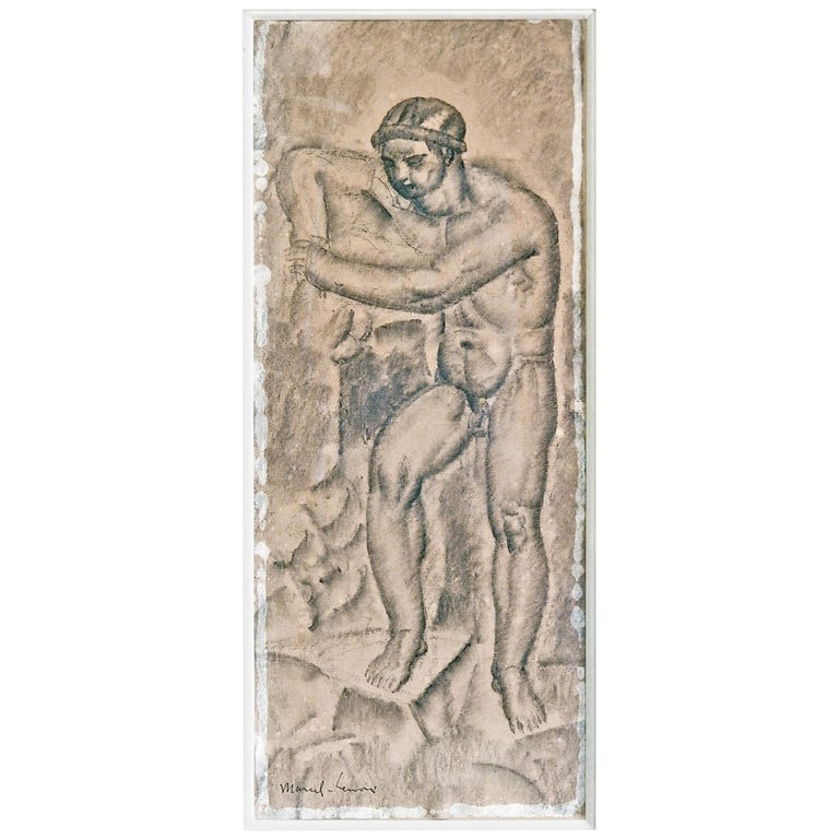 Male Nude in Art Deco-Cubist Manner by Lenoir, 1920s For Sale
