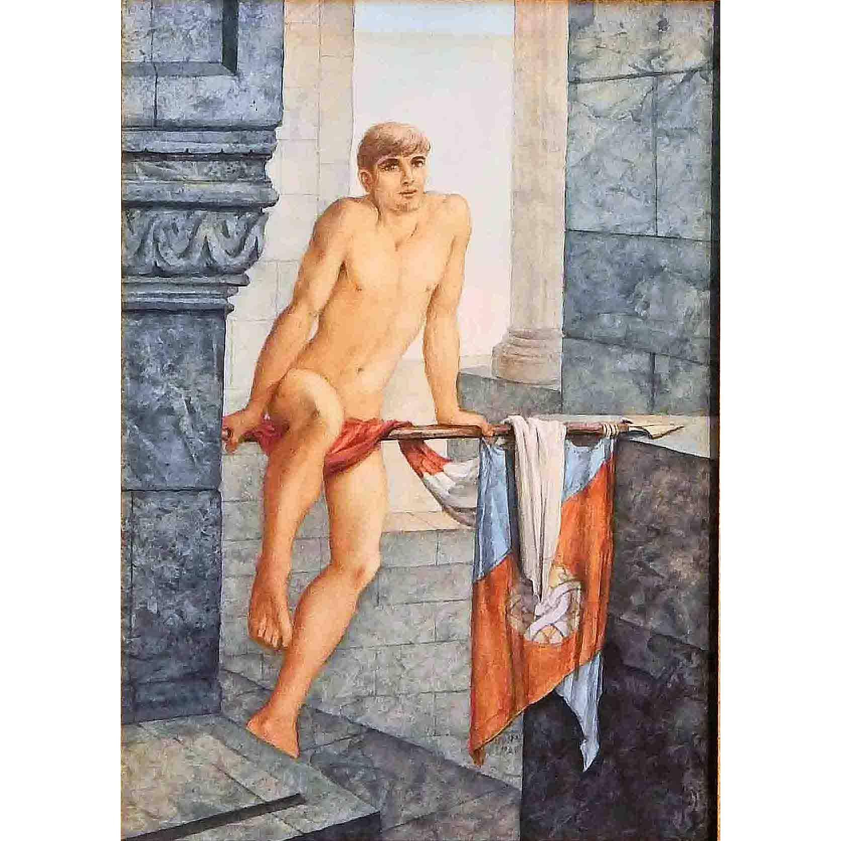 """""""Male Nude with Banner and Pole,"""" Rare Midcentury Painting by Lear"""