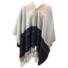 Malene Birger White and Gray Wool Shawl