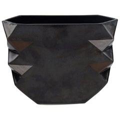 Malene Müllertz, Denmark, Unique Vase in Black Glazed Ceramics, Dated 1985