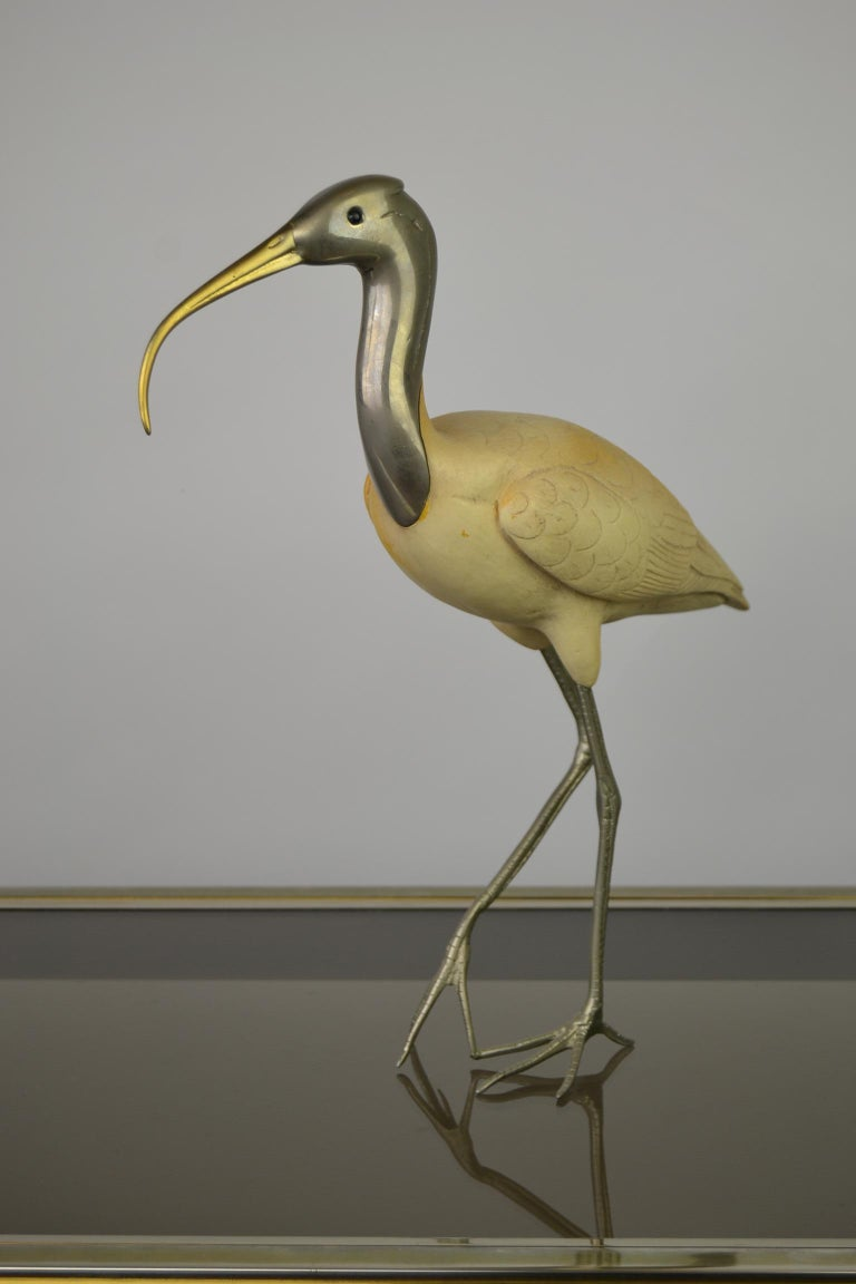 Resin Ibis Bird Sculpture by Malevolti Italy, 1950s For Sale