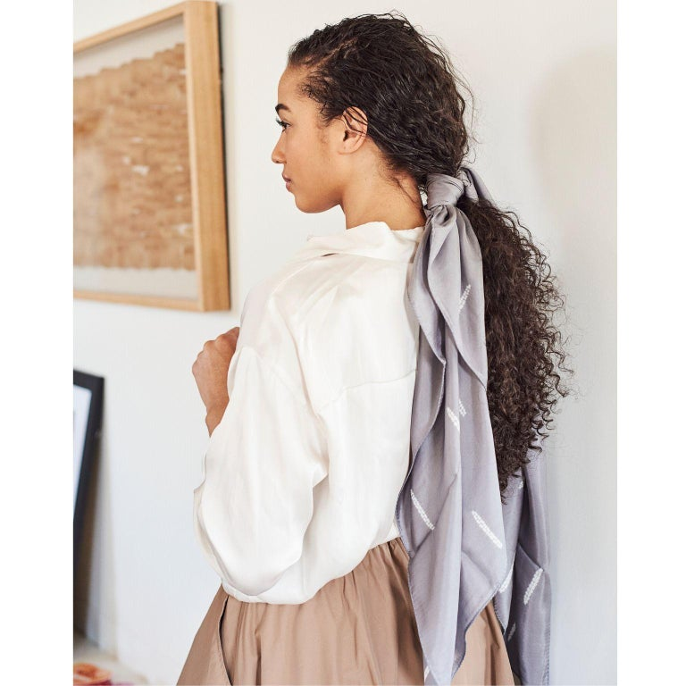 Custom design by Studio variously, MALEY is a classic lightweight silk throw that can be very well  used as a scarfor a wrap made by master shibori artisans in India.  A sustainable design brand based out of Michigan, Studio Variously exclusively