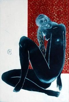 Belladonna - XXI century, Figurative nude print, Mixed media