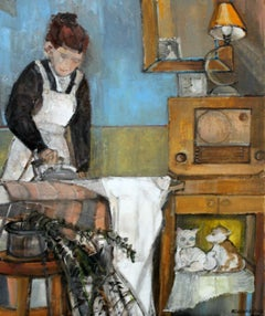 Husband's shirt - XXI Century, Contemporary Figurative Oil Painting, Interior