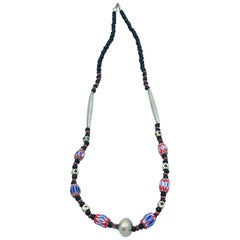 Mali Africa, Hand Red-White Blue Painted Bead Necklace 19