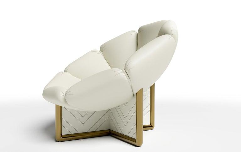 Italian MALIBU CHAIR - Modern Design in Lealpell Leather with a Bronze Metallic Base