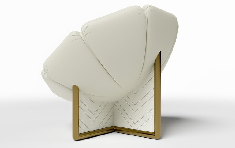Lacquered MALIBU CHAIR - Modern Design in Lealpell Leather with a Bronze Metallic Base