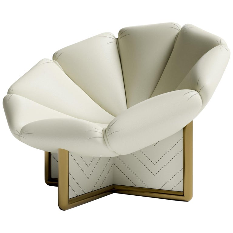 MALIBU CHAIR - Modern Design in Lealpell Leather with a Bronze Metallic Base
