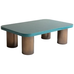 Davidson's '70s Inspired, Malibu Coffee Table, in Green Birds Eye Maple and Bras