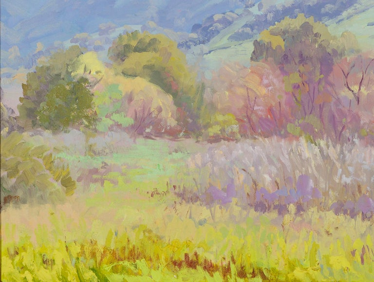 Modern Impressionistic Landscape in Green by J.Alfonso Colocho For Sale