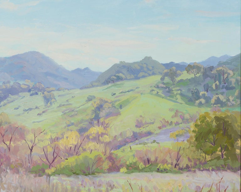 Oiled Impressionistic Landscape in Green by J.Alfonso Colocho For Sale