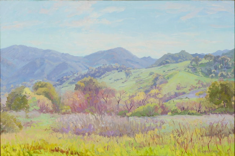 Impressionistic Landscape in Green by J.Alfonso Colocho In Good Condition For Sale In Lantau, HK