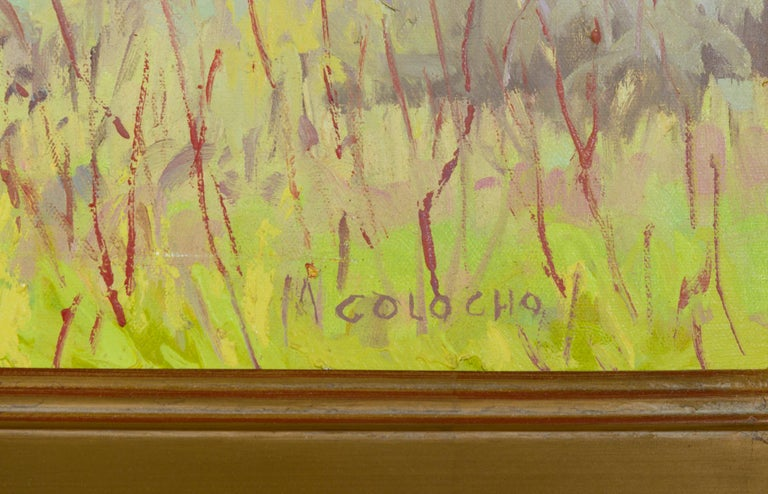 Canvas Impressionistic Landscape in Green by J.Alfonso Colocho For Sale