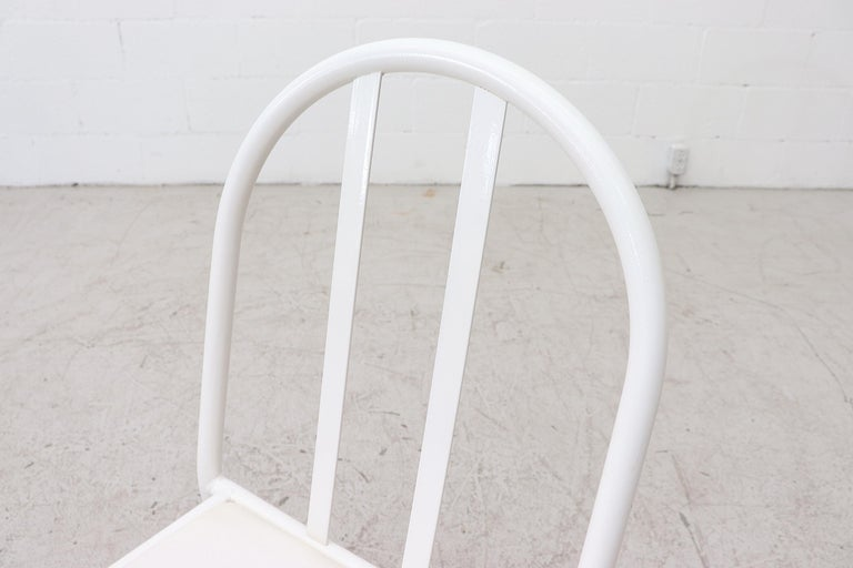 Mallet Stevens Style White Tubular Dining Chairs For Sale 3