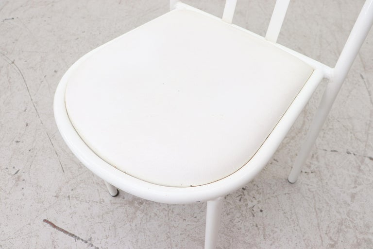 Mallet Stevens Style White Tubular Dining Chairs For Sale 4