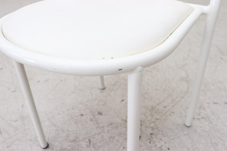 Mallet Stevens Style White Tubular Dining Chairs For Sale 5
