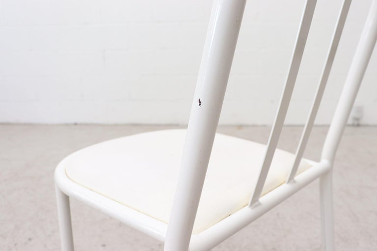 Mallet Stevens Style White Tubular Dining Chairs For Sale 6