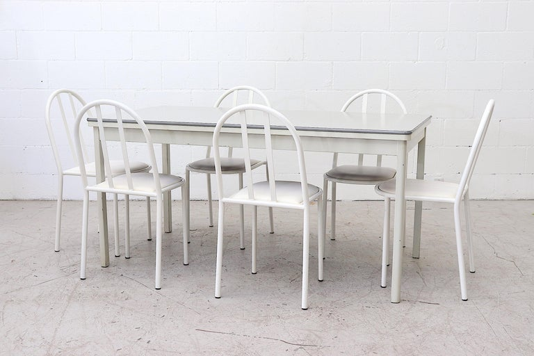 Mid-Century Modern Mallet Stevens Style White Tubular Dining Chairs For Sale