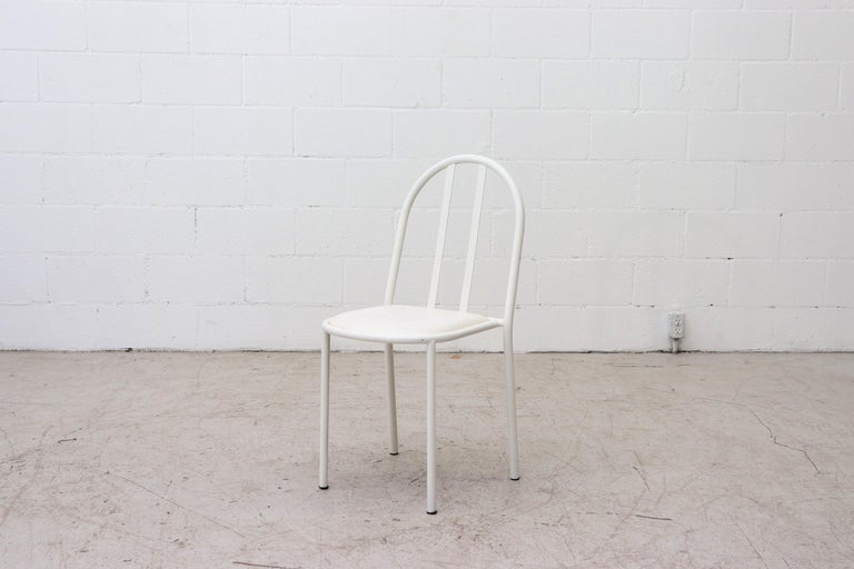 Dutch Mallet Stevens Style White Tubular Dining Chairs For Sale
