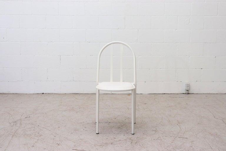 Enameled Mallet Stevens Style White Tubular Dining Chairs For Sale