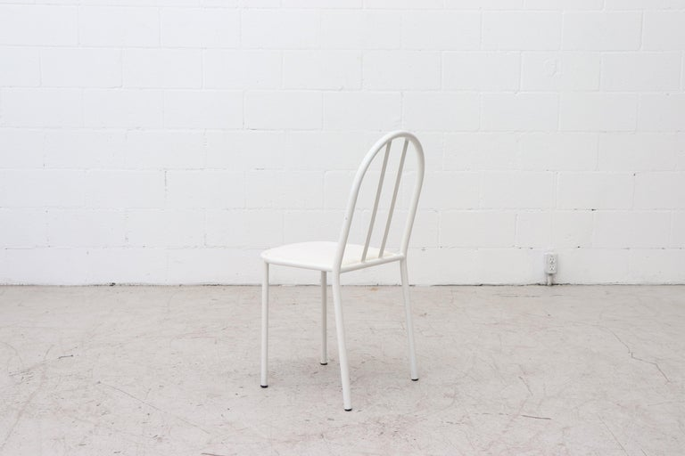 Late 20th Century Mallet Stevens Style White Tubular Dining Chairs For Sale