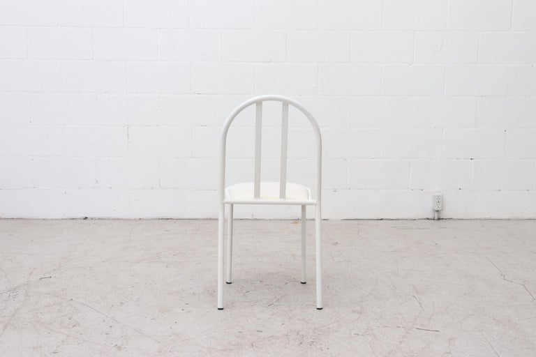 Metal Mallet Stevens Style White Tubular Dining Chairs For Sale