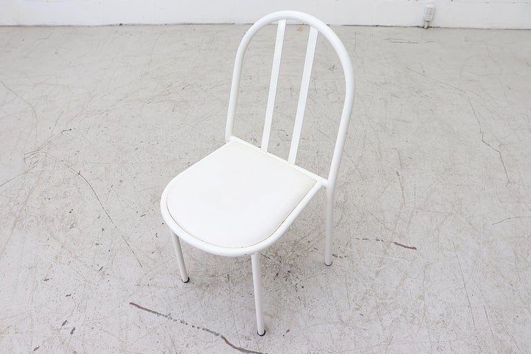 Mallet Stevens Style White Tubular Dining Chairs For Sale 1