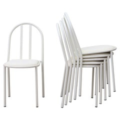 Mallet Stevens Style White Tubular Dining Chairs