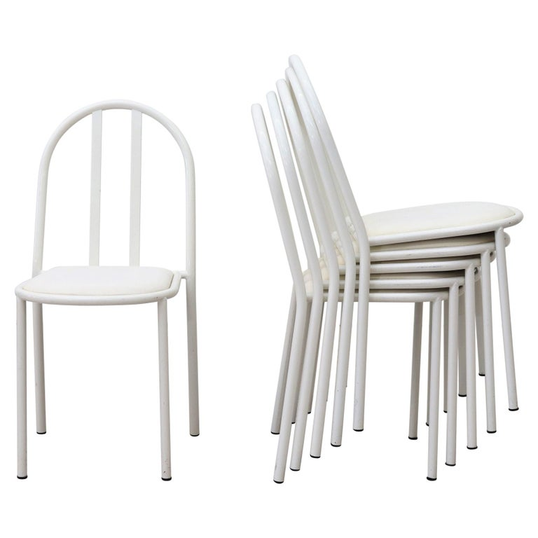 Mallet Stevens Style White Tubular Dining Chairs For Sale