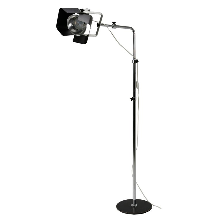 The Malli lamp with adjustable shades and height, made of a chrome-plated steel-tube with black painted aluminium shades. Designed by Yrjö Kukkapuro in the 1960s. Made by Haimi Oy, Finland.