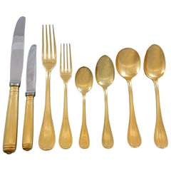 Malmaison by Christofle Silverplate Gilded Flatware Service 8 Set 68 Pcs Gold