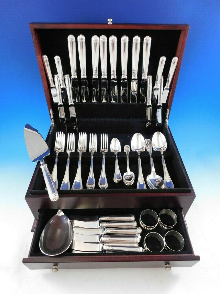 Malmaison by Christofle Sterling silver flatware set - 68 pieces (including 8 napkin rings!). This set includes:  8 dinner knives, 9 3/4
