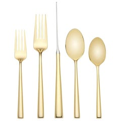 Malmo Gold by Kate Spade Stainless Steel Flatware Set Service for 12 New 60 Pcs