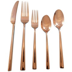 Malmo Rose Gold by Kate Spade Stainless Flatware Set Service for 6 New 30 Pcs