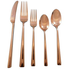 Malmo Rose Gold by Kate Spade Stainless Flatware Set Service for 8 New 40 Pcs