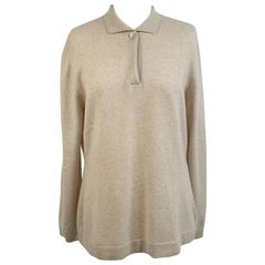 Malo Beige Cashmere Jumper Sweater with Collar Size 46