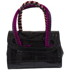 Malo black cocco and velvet mini handbag