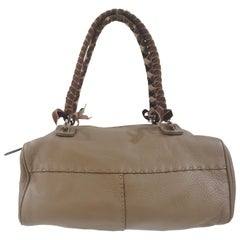 Malo etoupe leather velvet handle shoulder bag
