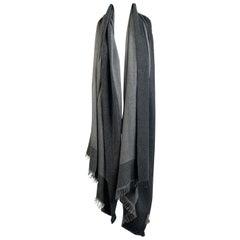 Malo Gray Cashmere and Silk Shawl Large Scarf Metallic Borders