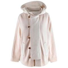 Malo Ivory Cashmere Hooded Cape Back Cardigan - Size US 6