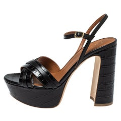Malone Souliers Black Croc Embossed Leather Ankle Strap Sandals Size 37.5