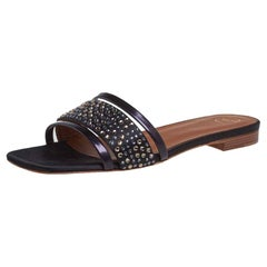 Malone Souliers Black Leather And Satin Rosa Crystal Slide Sandals Size 36.5