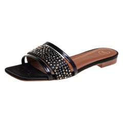Malone Souliers Black Satin And Leather Crystal Embellished Sandals Size 36.5